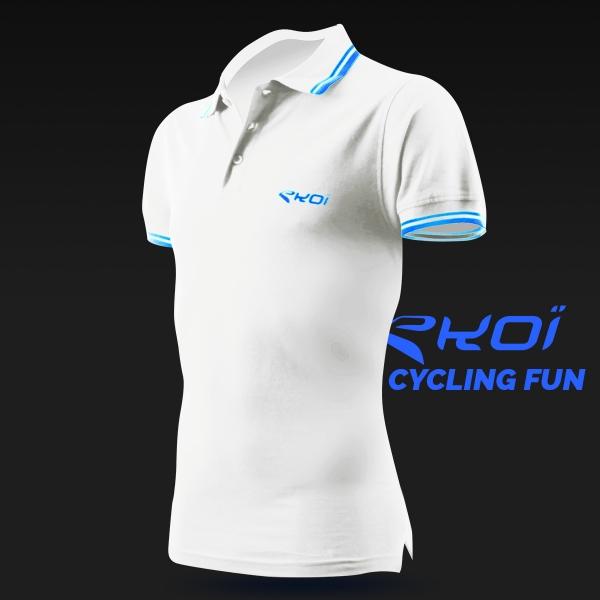 Herre poloshirt EKOI Cycling Fun i hvid