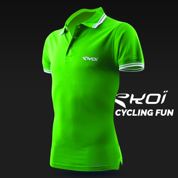 Polo men EKOI Cycling Fun Vert